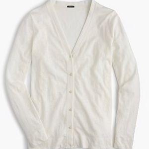 Jcrew slub cotton vneck button front cardigan